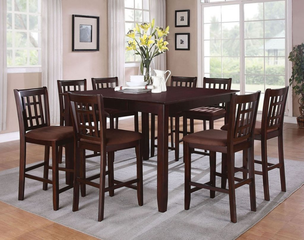 9 Pieces Pub Style Dining Sets With Black Painted Color Wooden