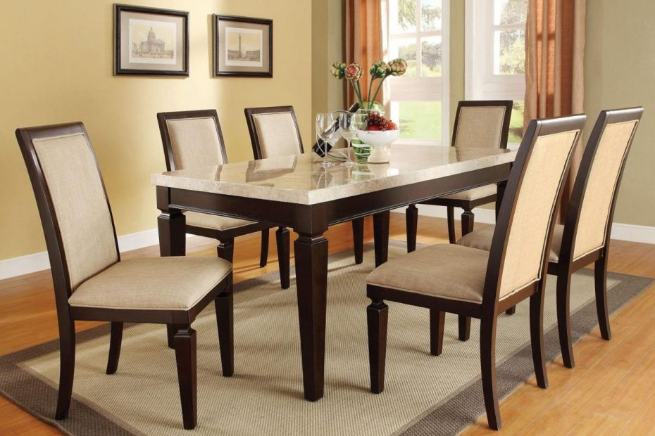 Acme Agatha 7pc White Marble Top Rectangular Dining Room Set In