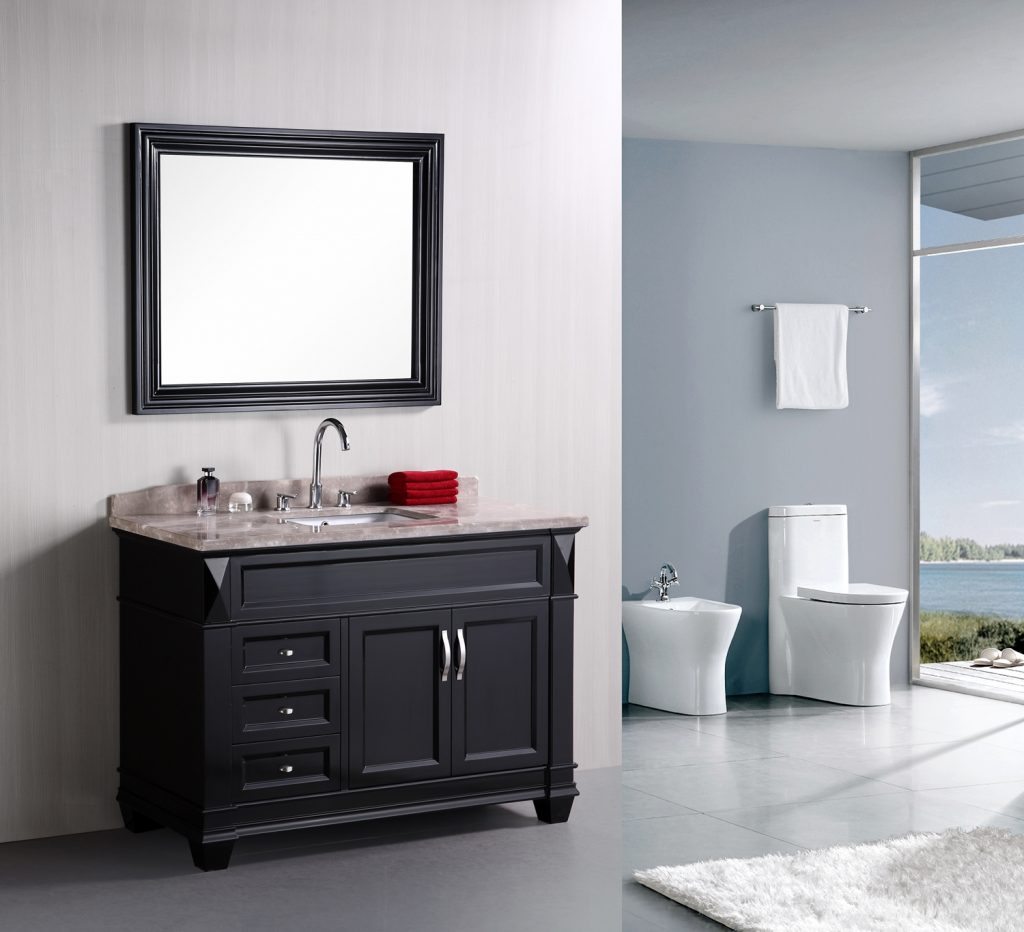 Amazing Espresso Painted Wall Gray Bathroom Vanity With Single Sink