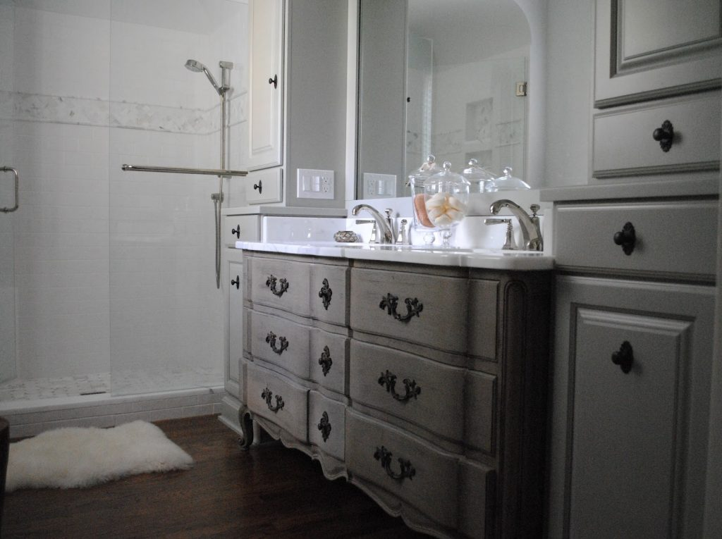 Amazing Gray Bathroom Vanity Drawers As Storage With Wide Mirror