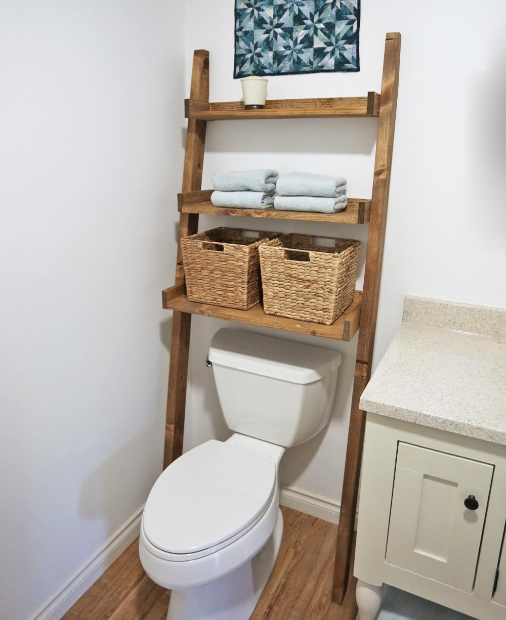 Ana White Over The Toilet Storage Leaning Bathroom Ladder Diy
