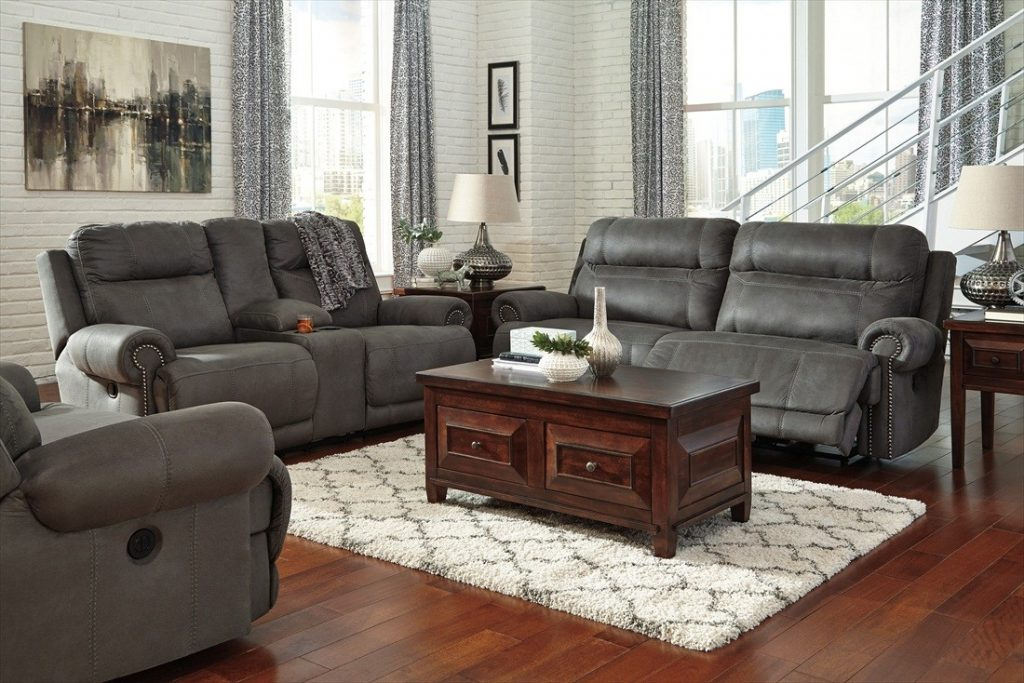 Ashley Furniture Austere Reclining Power Livingroom Set In Gray