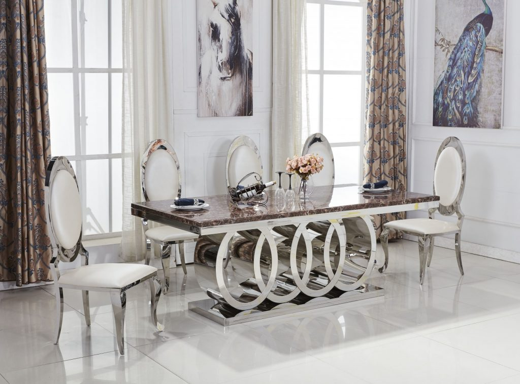 Audi Marble Dining Table Package Set Living Room