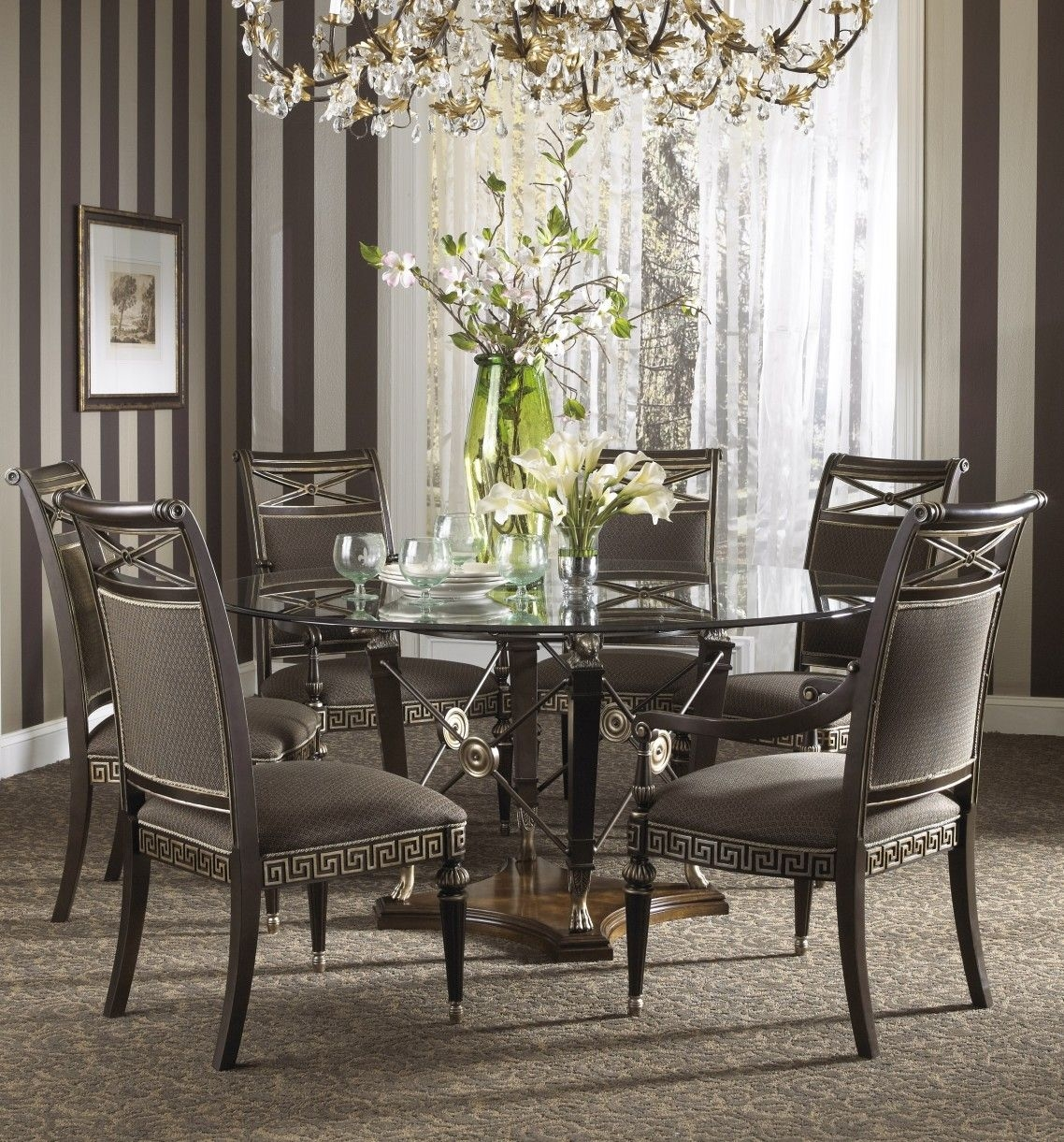 Awesome Luxury Gray Wrought Iron Dining Table Base Mixed Round Glass Layjao