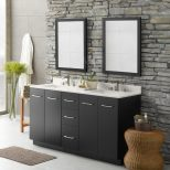Bath Astounding Stacked Stone Accent Wall With Bathroom Mirror And