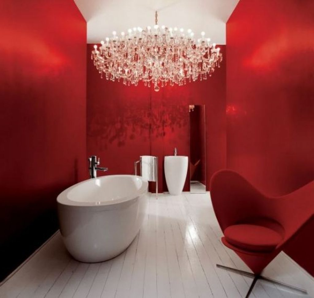 Bathroom Red And Black Bathroom Decor White Floating Vanity With