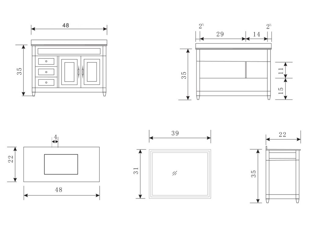 Bathroom Vanity Sizes In Depth With Standard Cuboshost Com Within