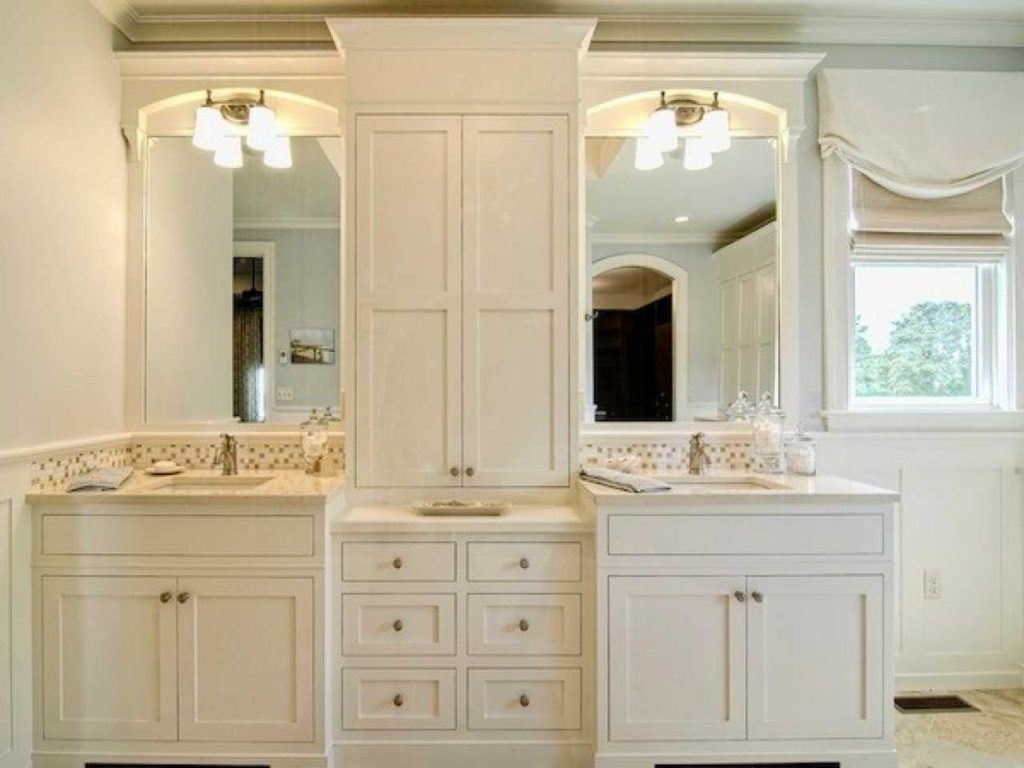 Bathroom Vanity With Linen Cabinet Ideas Including Attractive Closet