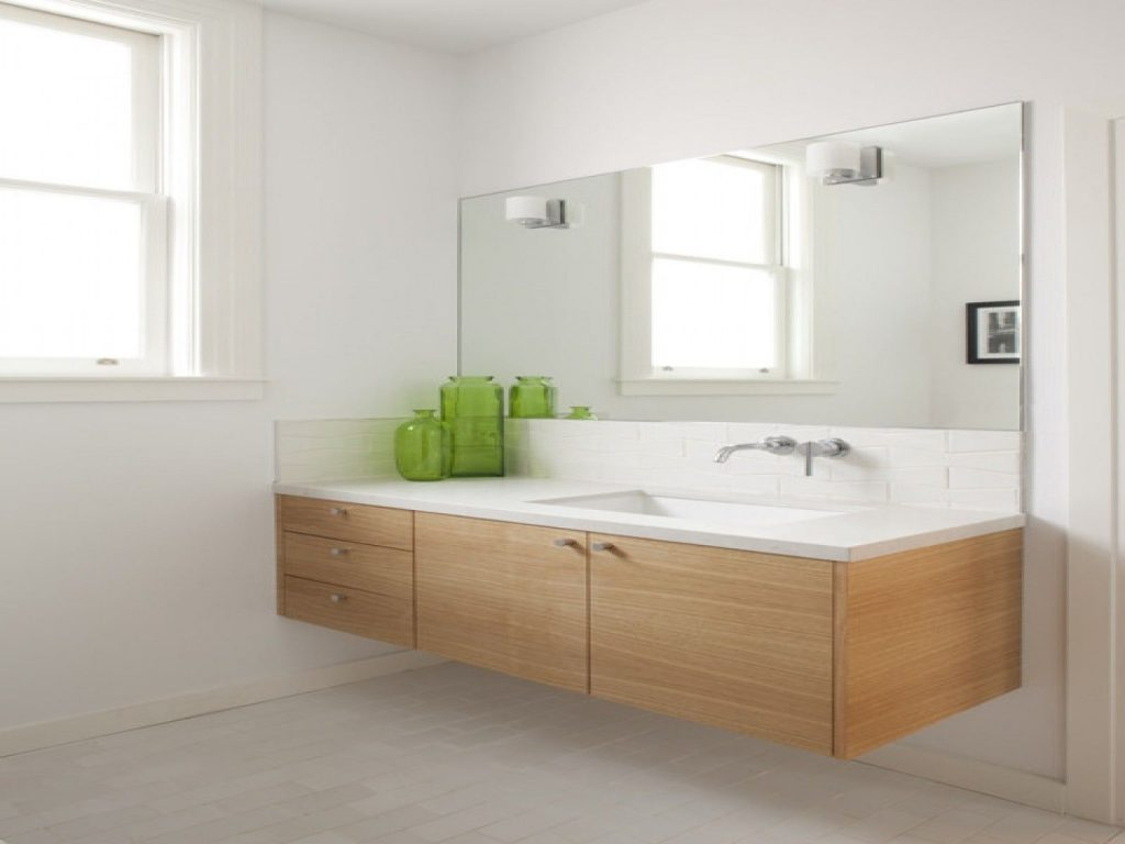 Bathroommodern Bathroom Design With Light Brown Floating Wood