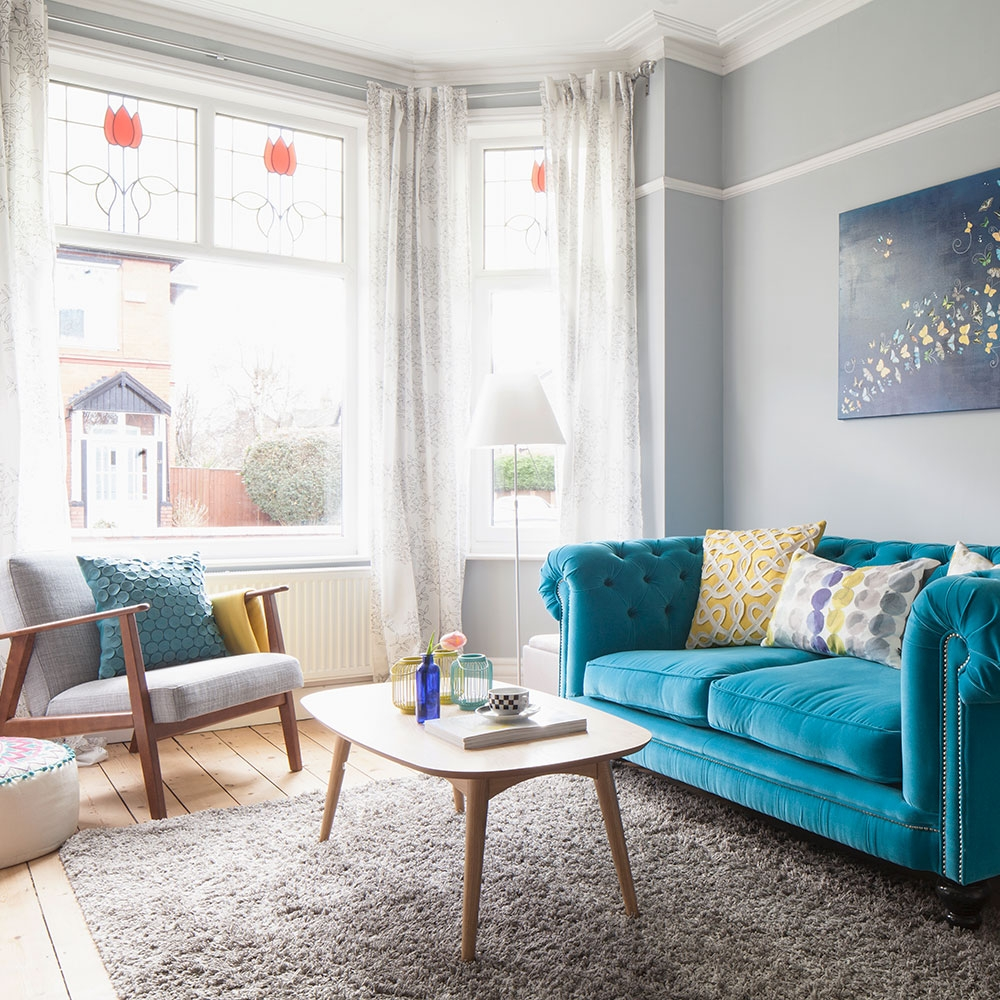 Be Inspired A Living Room Anchored A Bold Blue Sofa Ideal Home