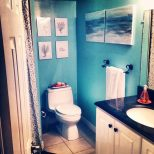 Beach Themed Bathroom Paint Colors White Finish Stained Wooden Table