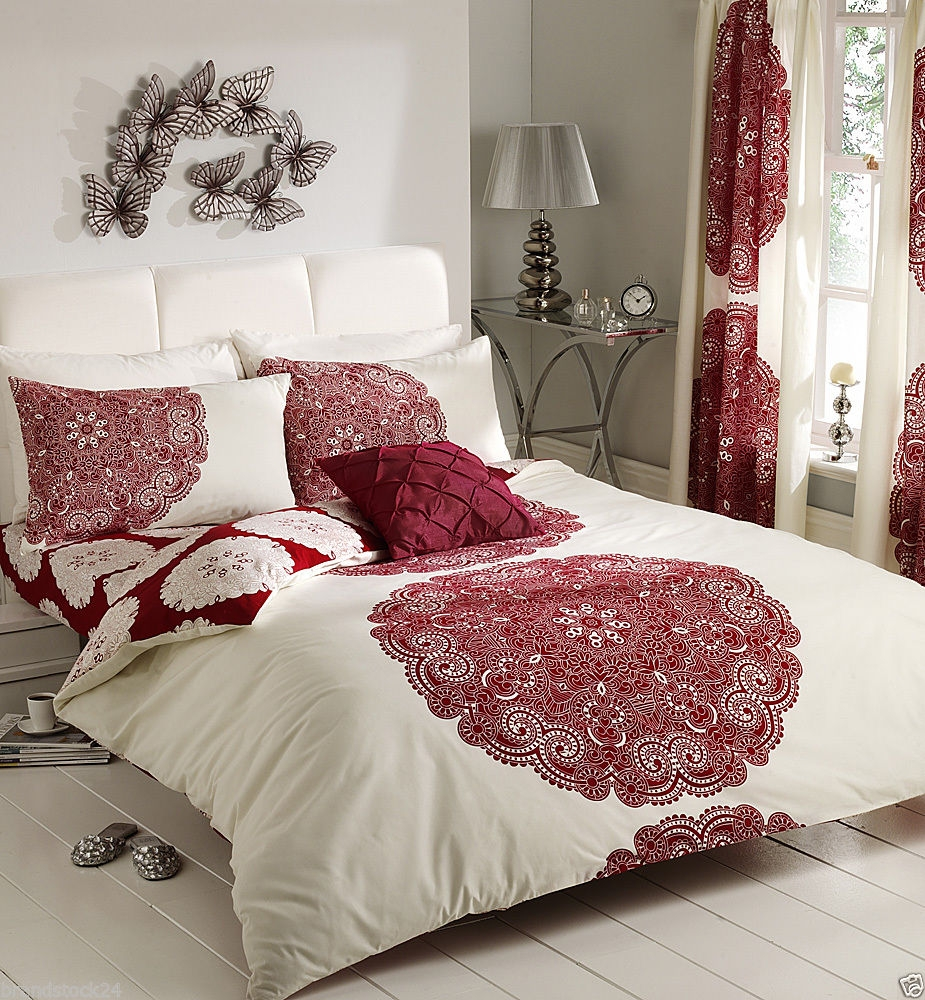 Bedroom Dramatic Red Touches Presented Bedroom Curtains And