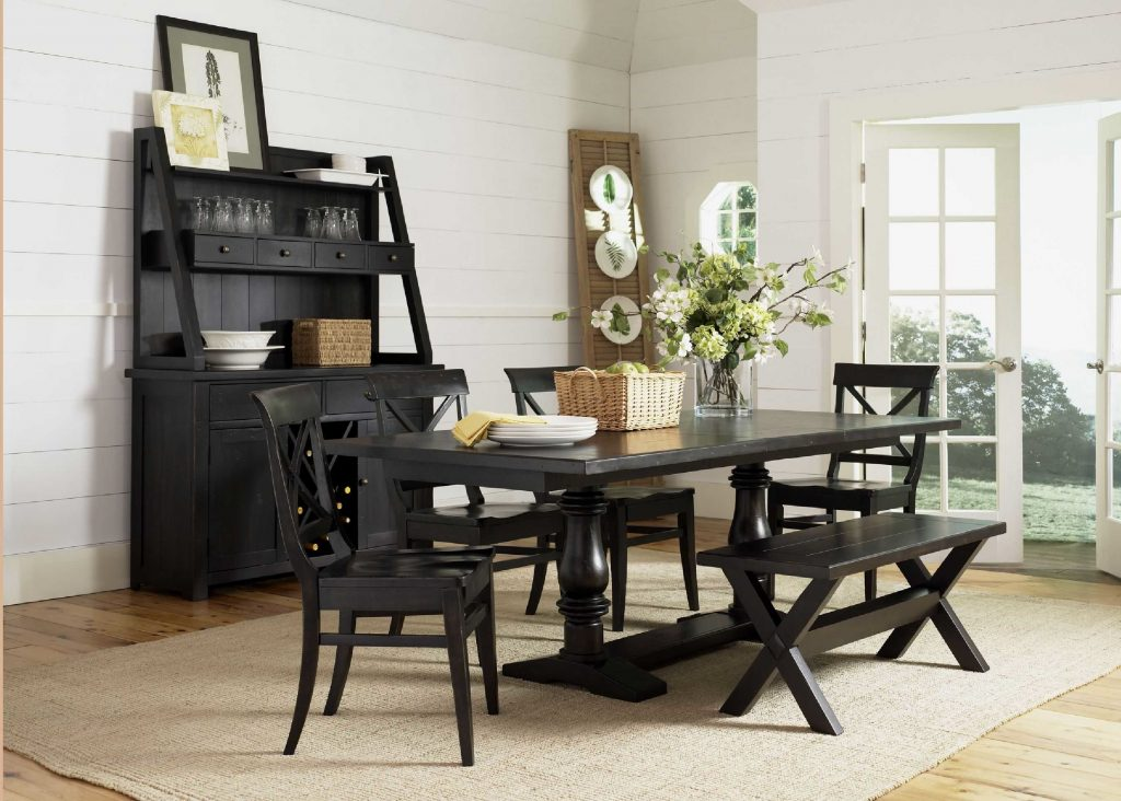 Classic Dining Room Design Ideas Along With Black Stained Wood