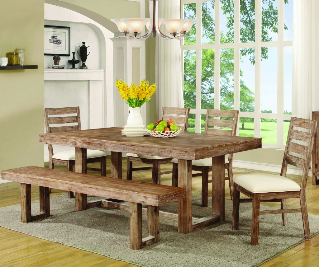Coaster Elmwood Rustic Table And Chair Set With Dining Bench Dunk