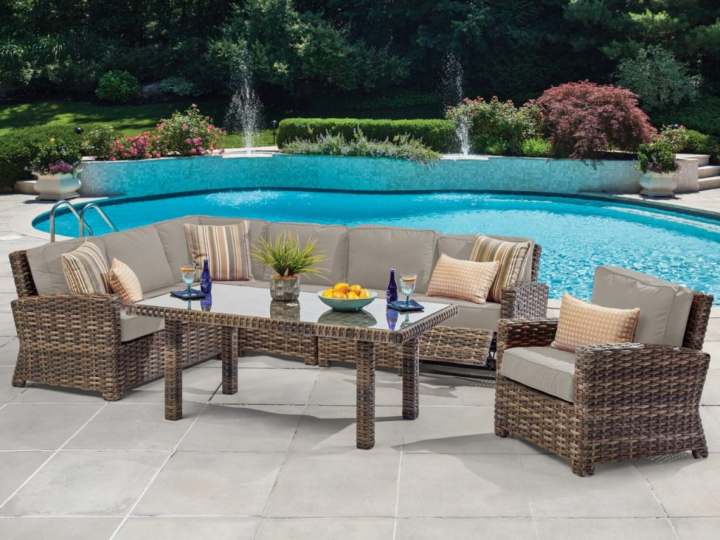 Contempo 6 Pc Resin Wicker Outdoor Sectional Seating Group With