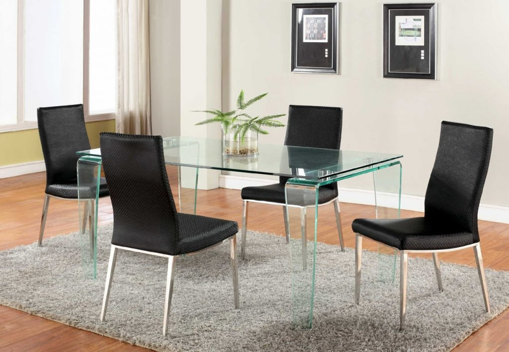Contemporary All Glass Dining Table With Clear Top And Bent Legs