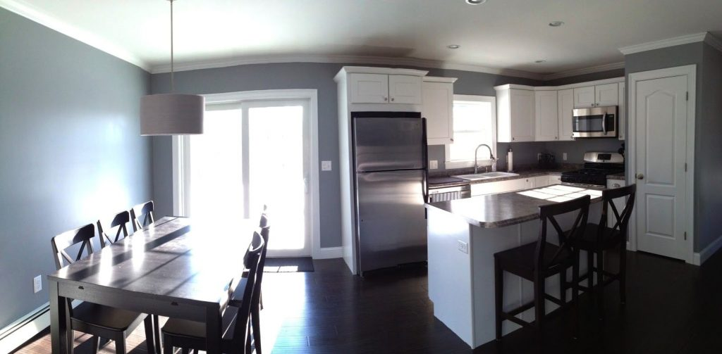 Creative Open Concept Kitchen And Dining Room Studio Gray Paint