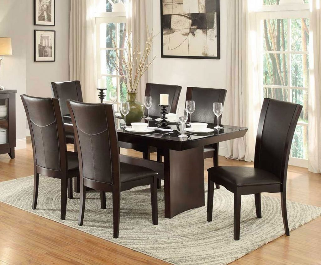 Daisy Glass Insert Dining Room Set W Dark Brown Chairs Dining
