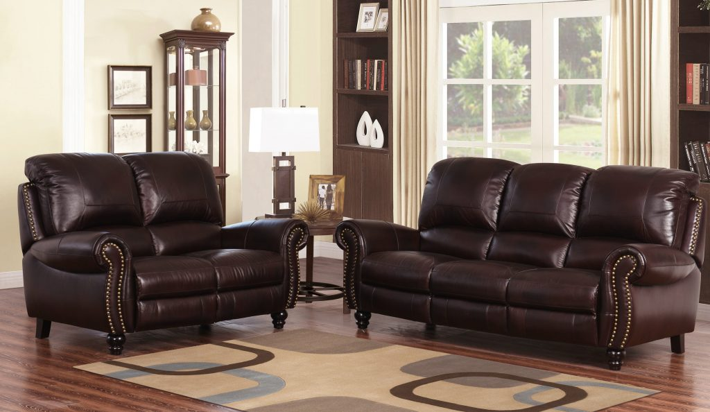 Dar Home Co Kahle Reclining 2 Piece Leather Living Room Set