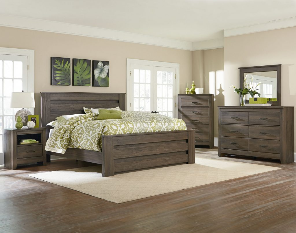 Dark Brown Weathered Oak Style Bedroom Set American Freight With