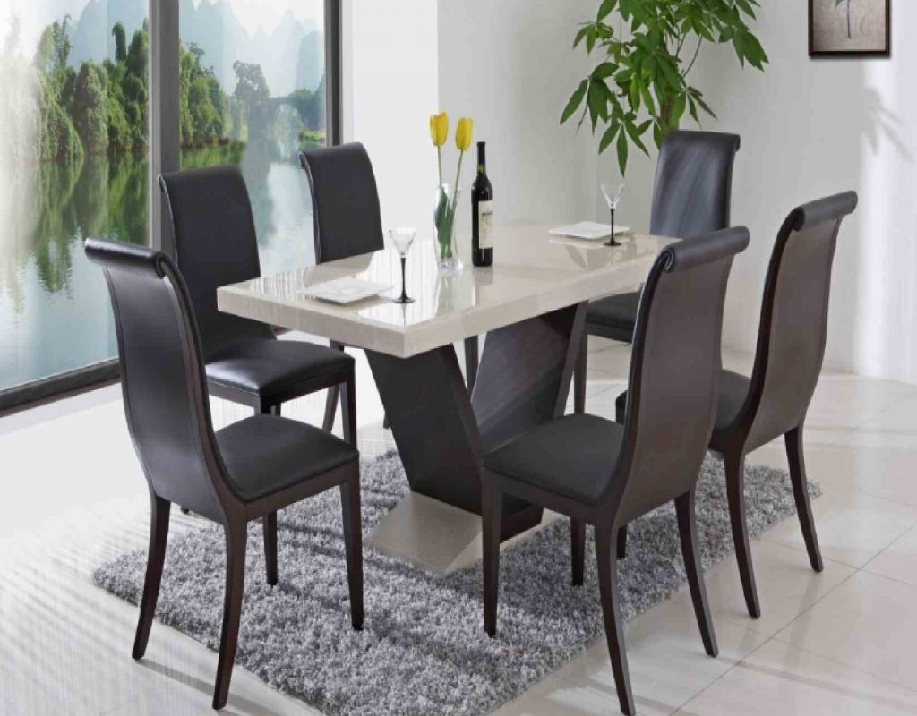 Dining Room Black Leather Dining Chairs With Nailheads With White