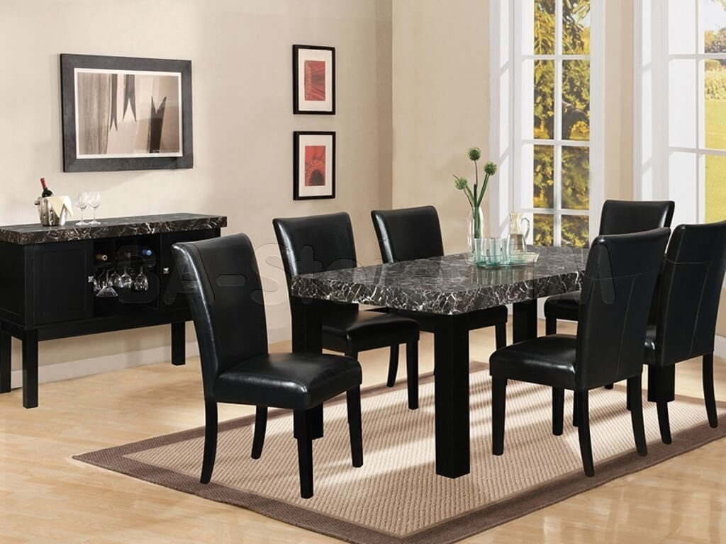 Dining Room Compelling Black Dining Room Sets Including Leather