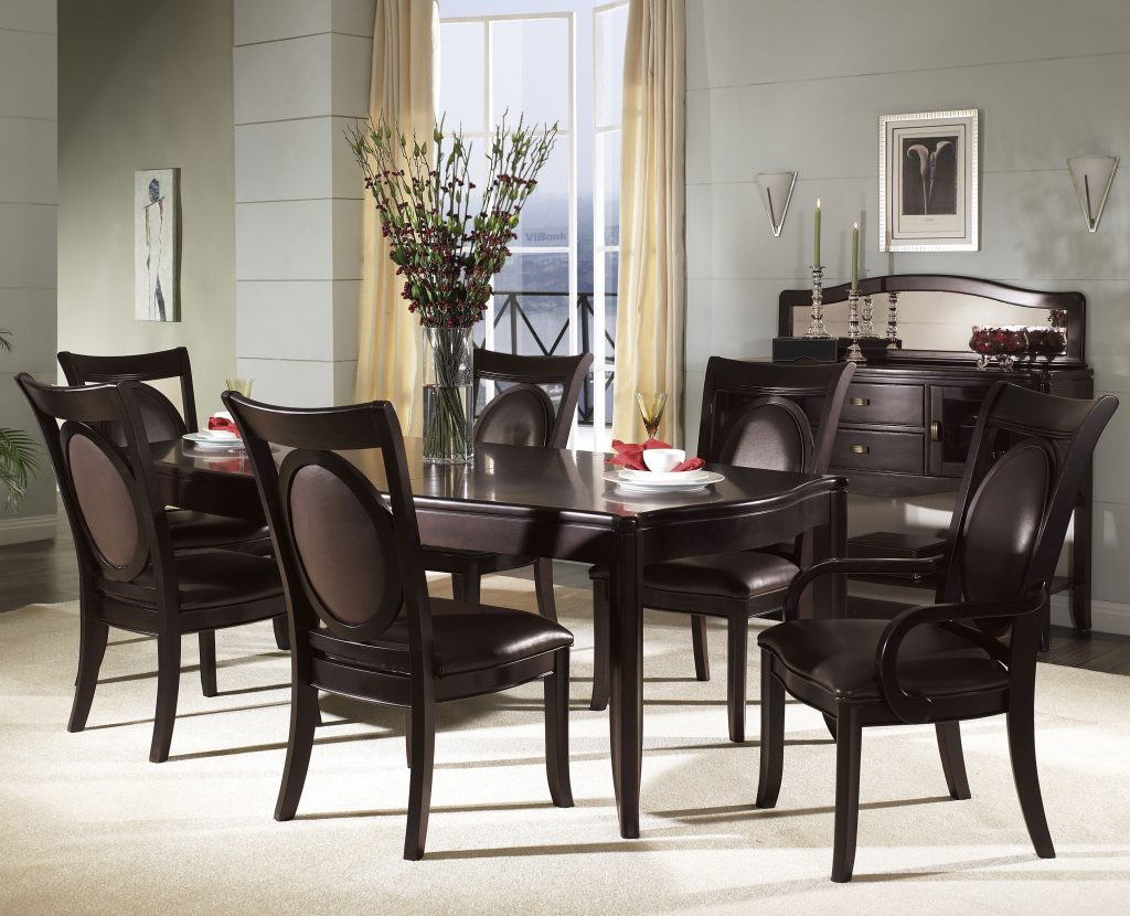 Dining Table Set Black Leather Chairs Dinette Sets With Simple Black