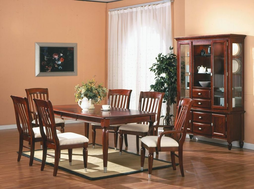 Dining Table Set Cherry Wood Wood Dining Room Double Pedestal Table