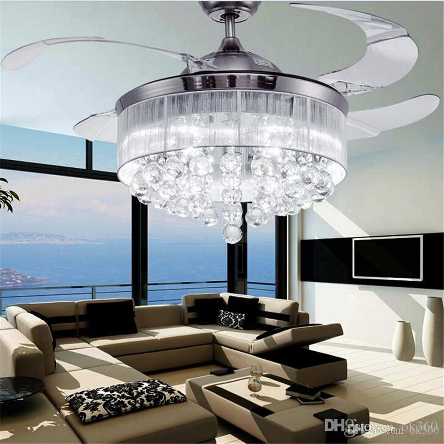 Discount Led Ceiling Fans Light Ac 110v 220v Invisible Blades