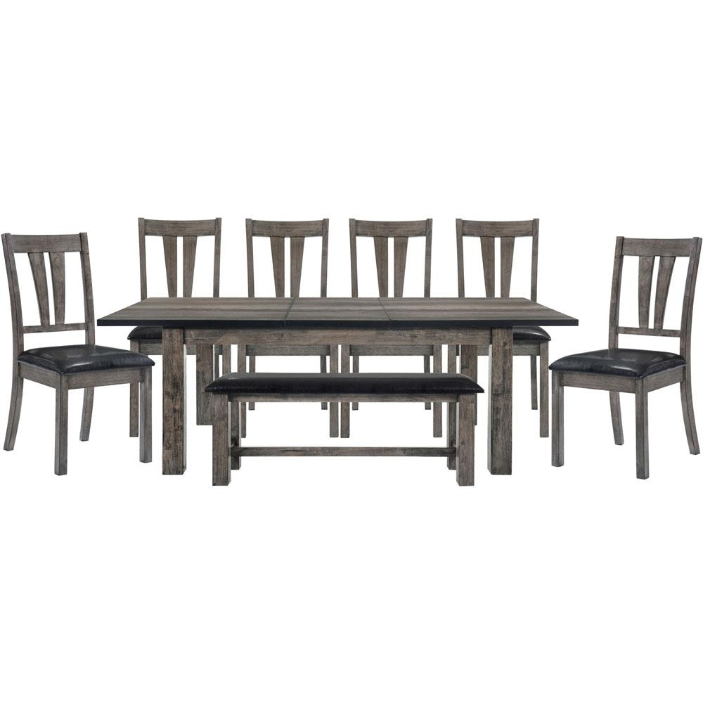 Drexel 8 Piece Weathered Gray Dining Set Table 6 Upholstered