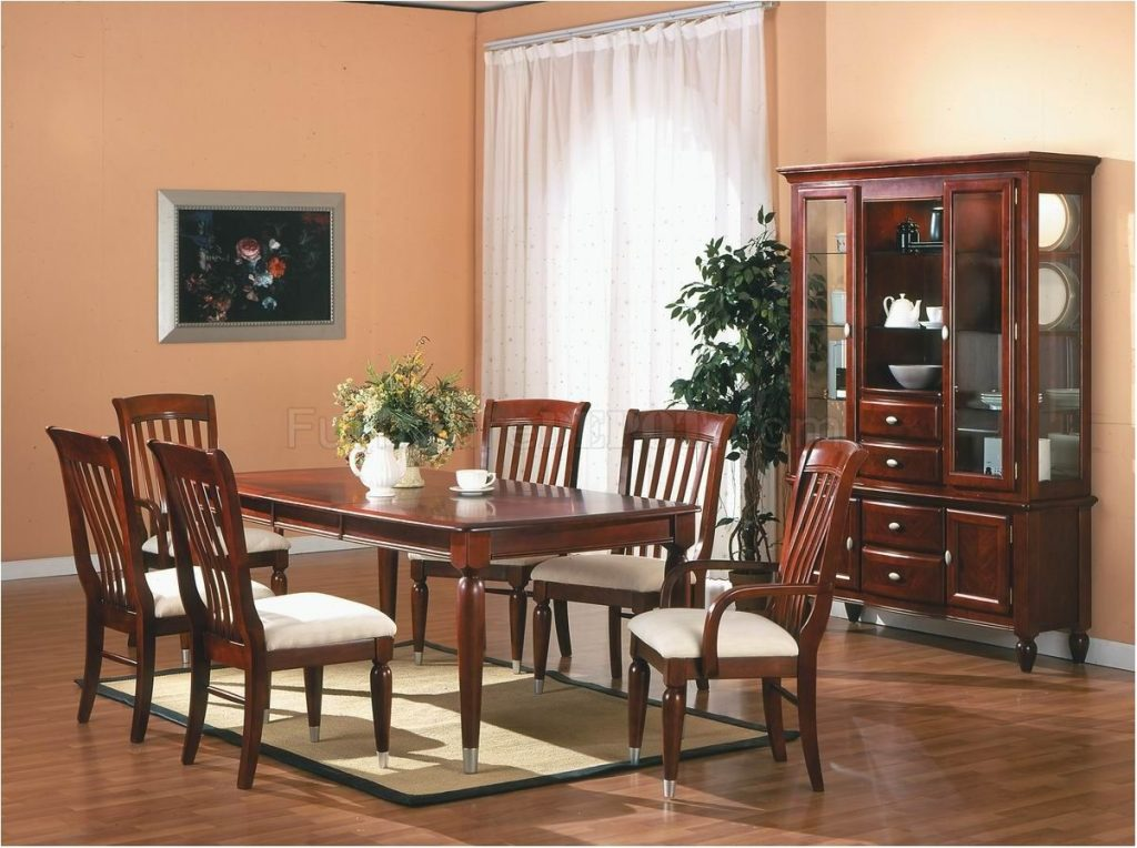 Excellently Cherry Finish Traditional Dining Room Set W Optional