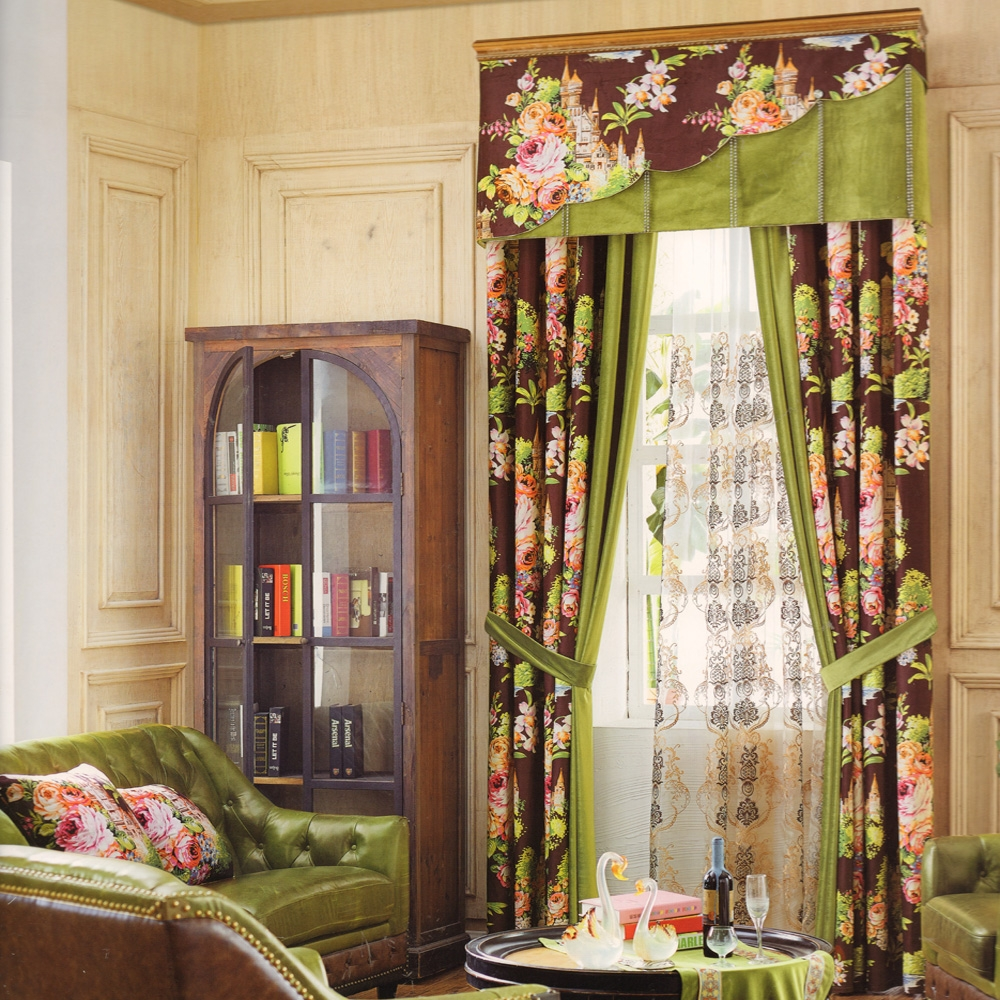 Floral Heavy Velvet Curtains For Dining Roomno Valance
