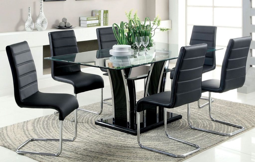 Furniture Of America Glenview Black Glass Top Dining Room Set