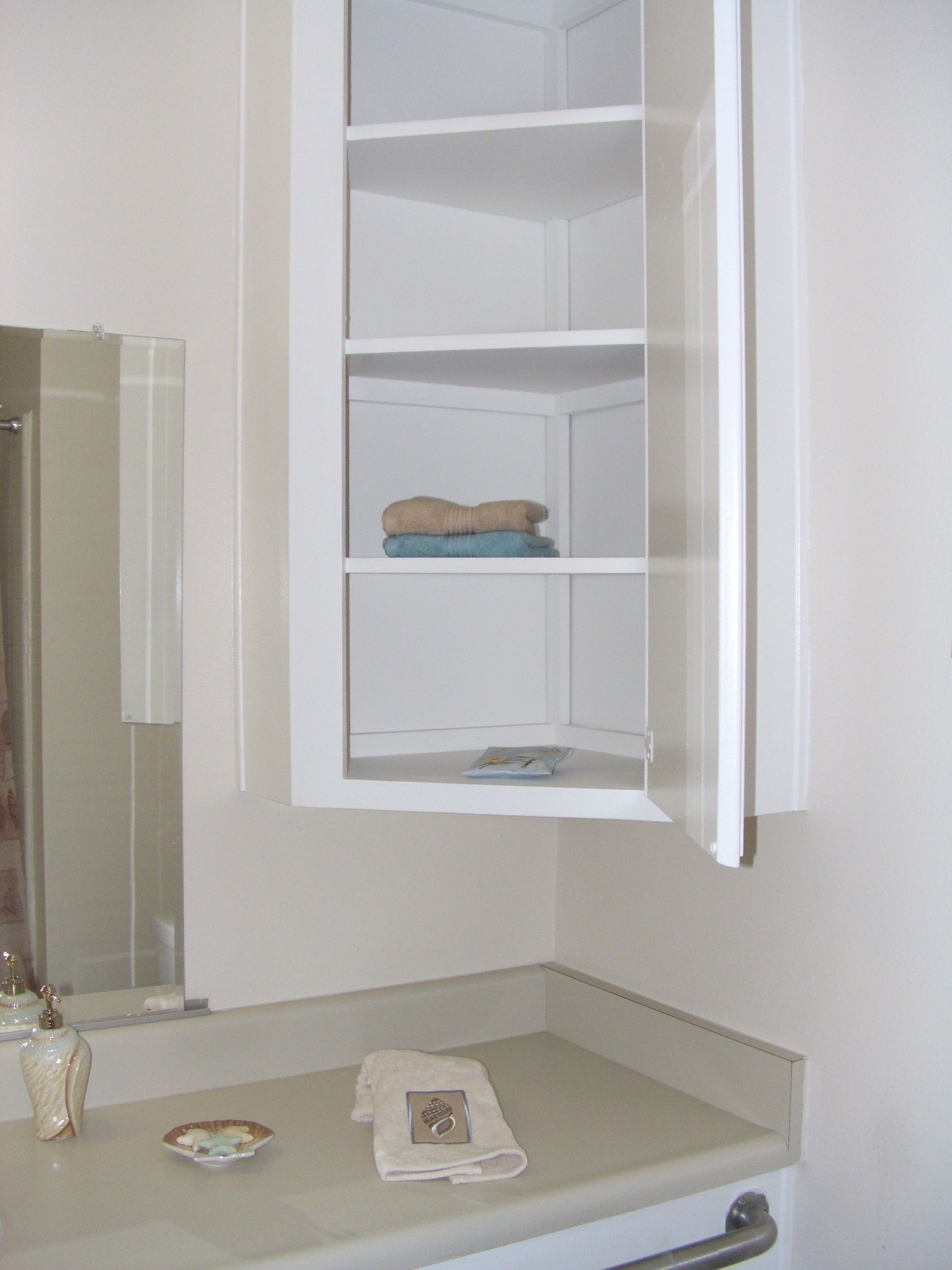 Furniture Wall Mounted Bathroom Corner Cabinet With Shelf And Within Layjao