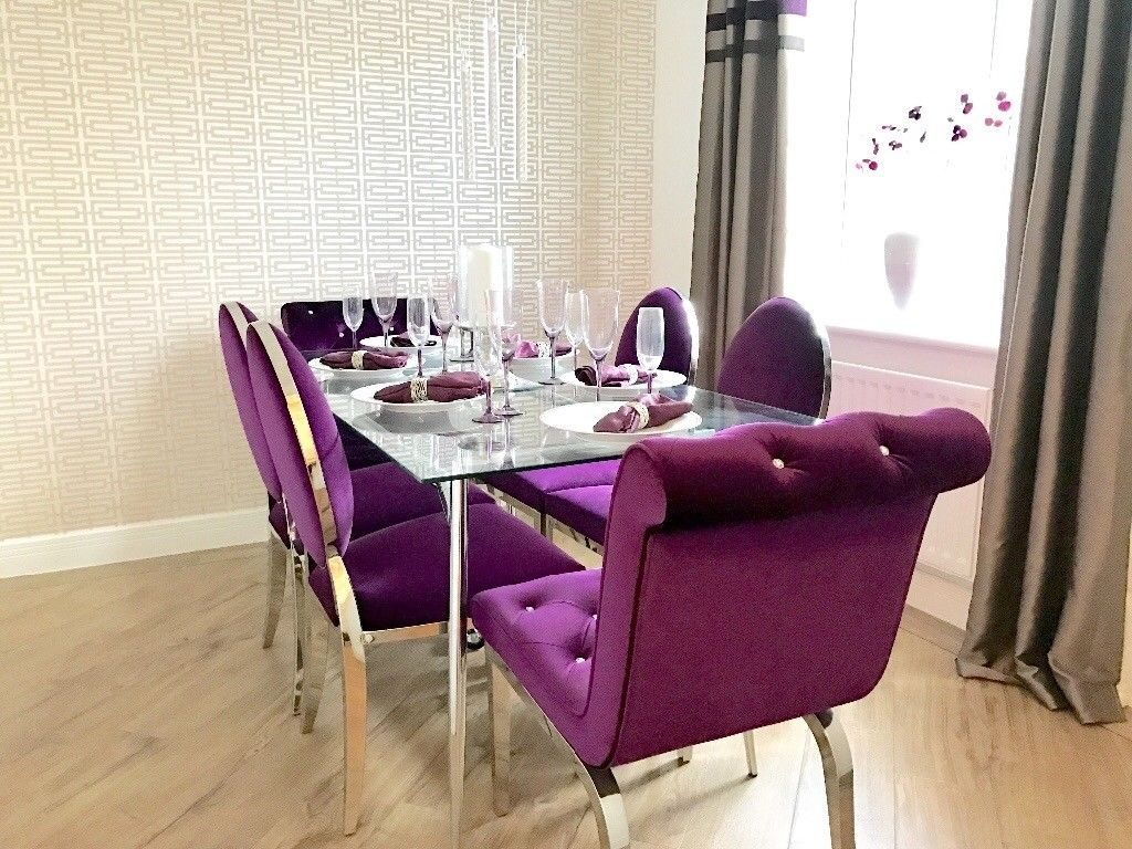 Glass Dining Table And 6 Purple Velvet Chairs Shoshone Immaculate