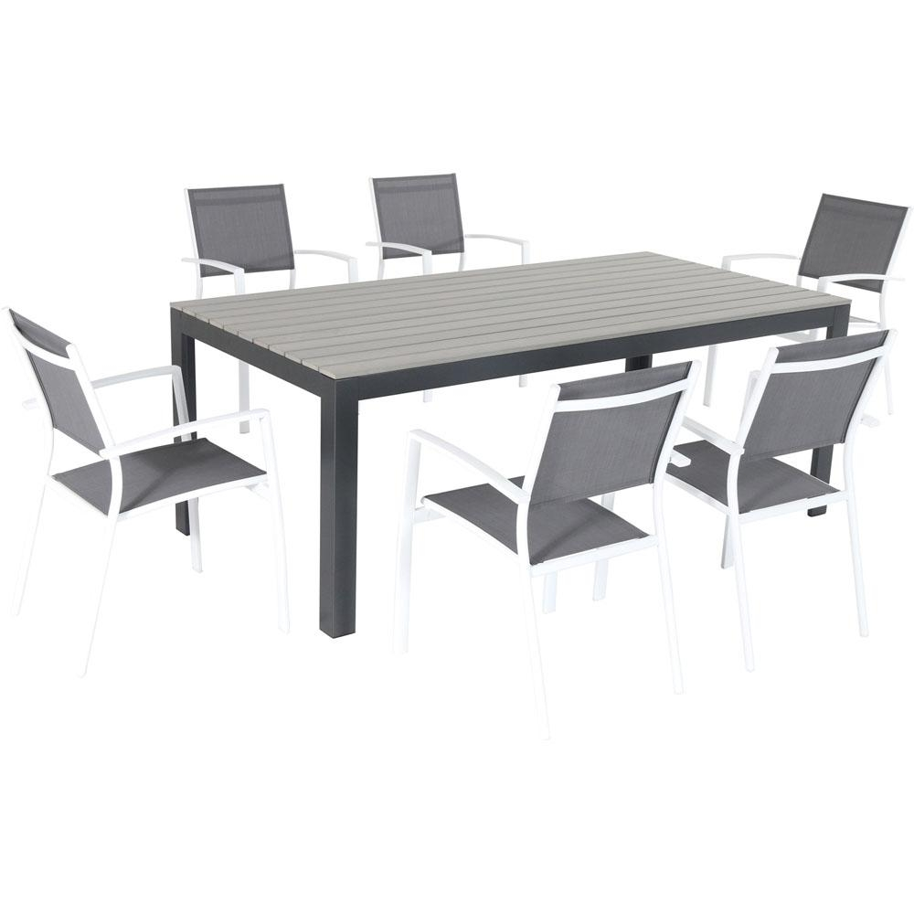 Hanover Tucson 7 Piece Aluminum Outdoor Dining Set With 6 Sling Arm