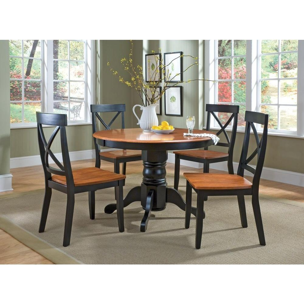 Home Styles 5 Piece Black And Oak Dining Set 5168 318 The Home Depot