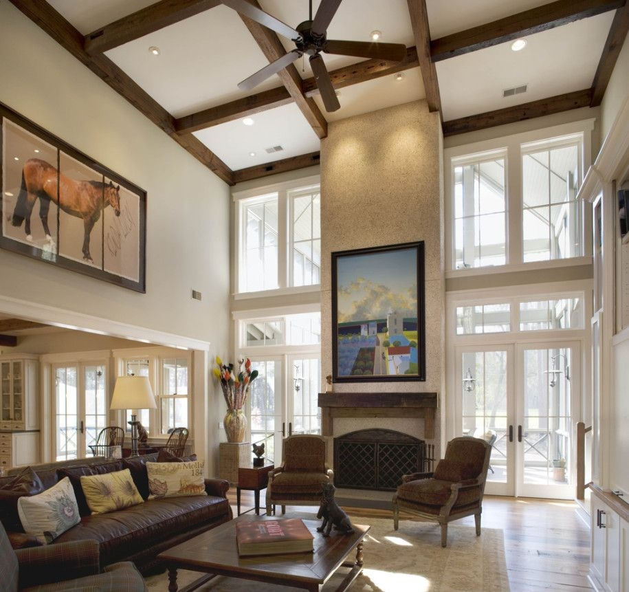 Impressive Living Room High Ceiling With Fancy Wood Hanging Ceiling