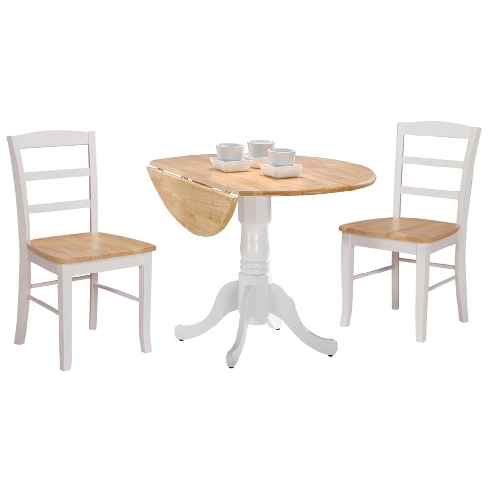 International Concepts White And Natural Drop Leaf Dining Table T02