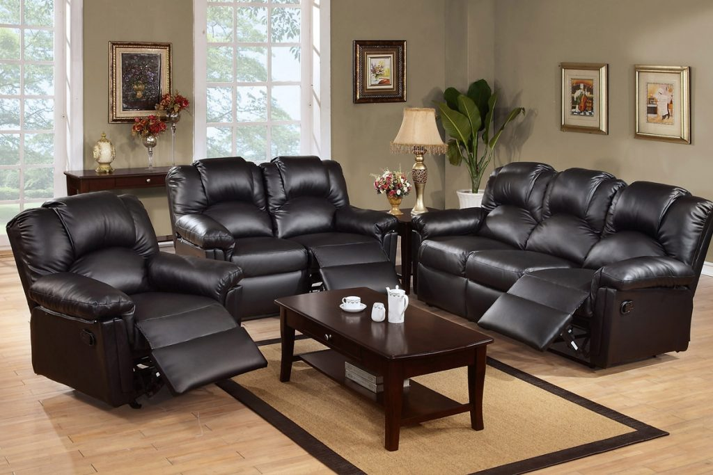 Leather Sofas Living Room Motion Upholstery Black Reclining Sofa Set