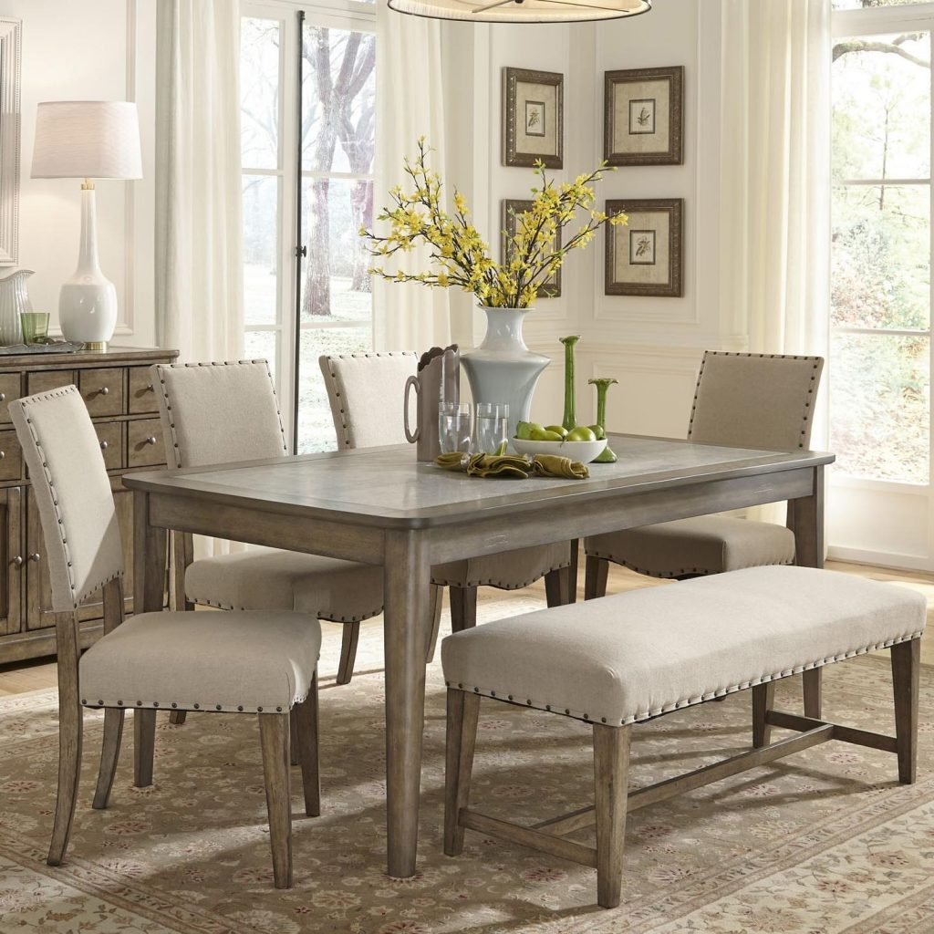 Liberty Furniture Weatherford Rustic Casual 6 Piece Dining Table And
