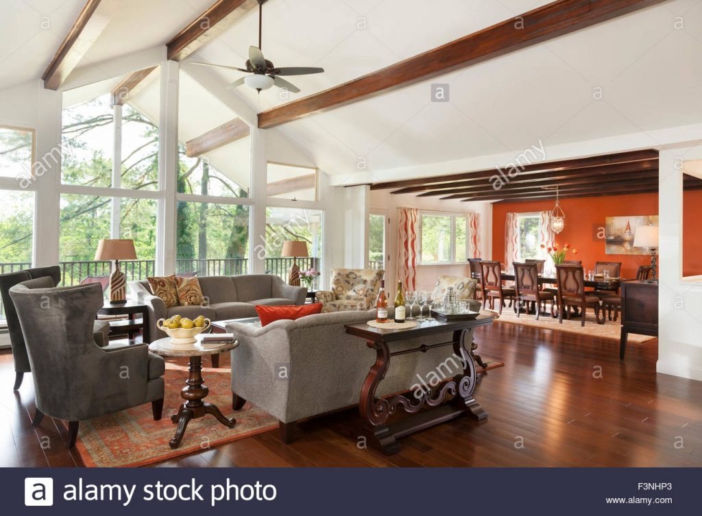 Living Room And Dining Room With High Ceiling Stock Photo 88370747