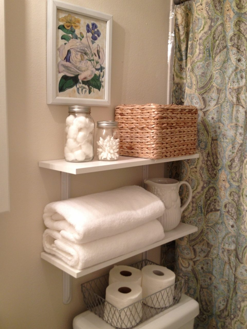 Lovable Homemade White Wooden Towel Storage Shelves For Simple