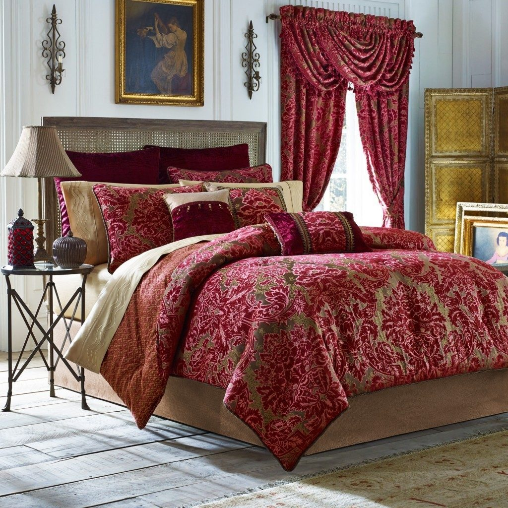 Luxury Red Pink Comforter Sets Bedding Matching Curtains Decor