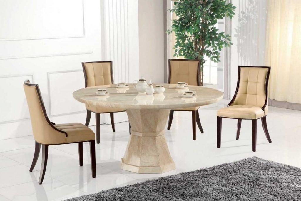 Marble Dining Tables And Chairs Marceladick Inside Amazing Round
