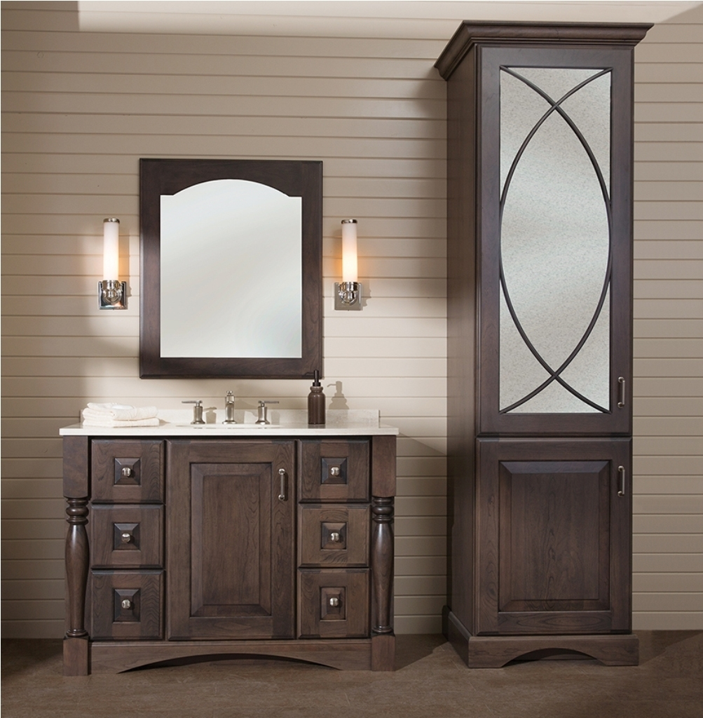 Marvelous Formal Styled Wooden Vanity And Linen Cabinet Sets With