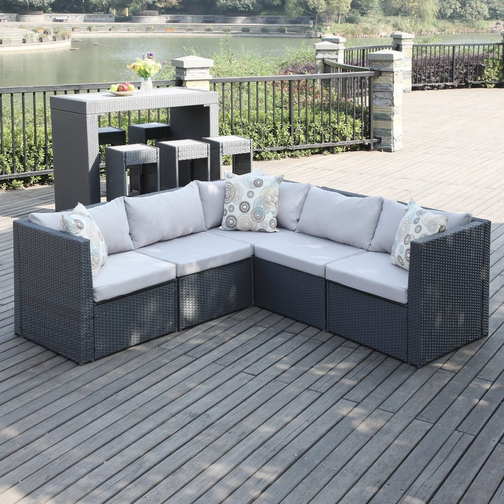 Mercury Row Lachesis Patio Sectional With Cushions Reviews Wayfair