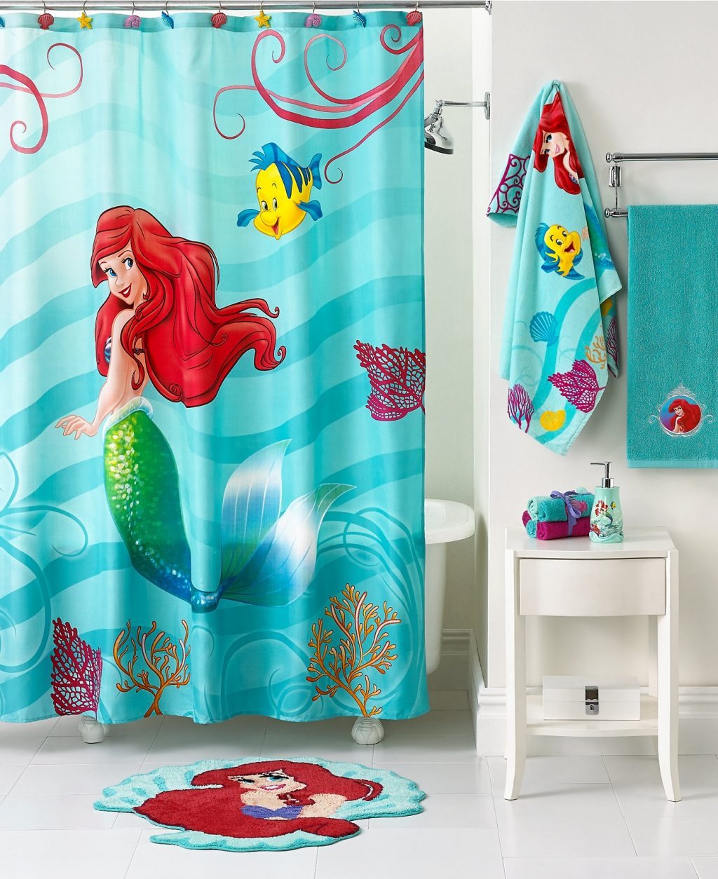Mermaid Shower Curtain For Kids Bathroom Decor With White Small
