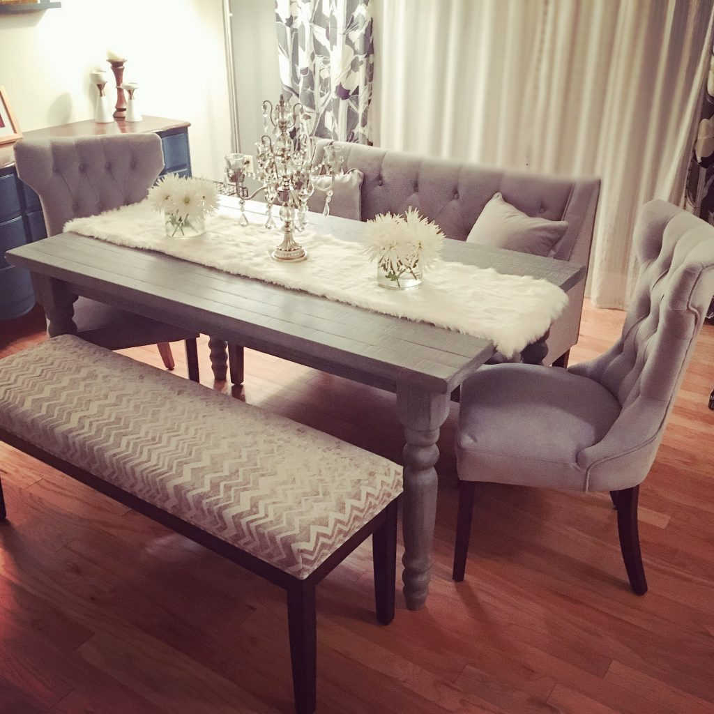 My New Grey Rustic Chic Dining Table Set Tufted Velvet Chairs