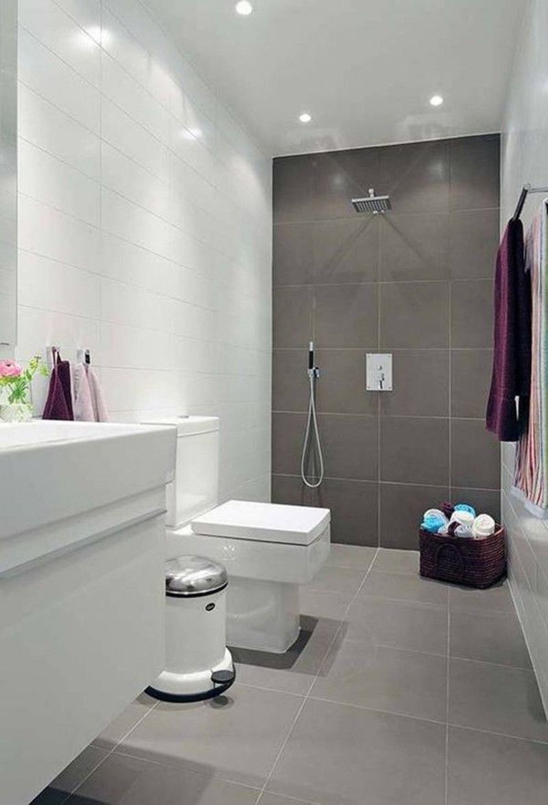 Natural Small Bathroom Design With Large Tiles Small Bathroom Tile